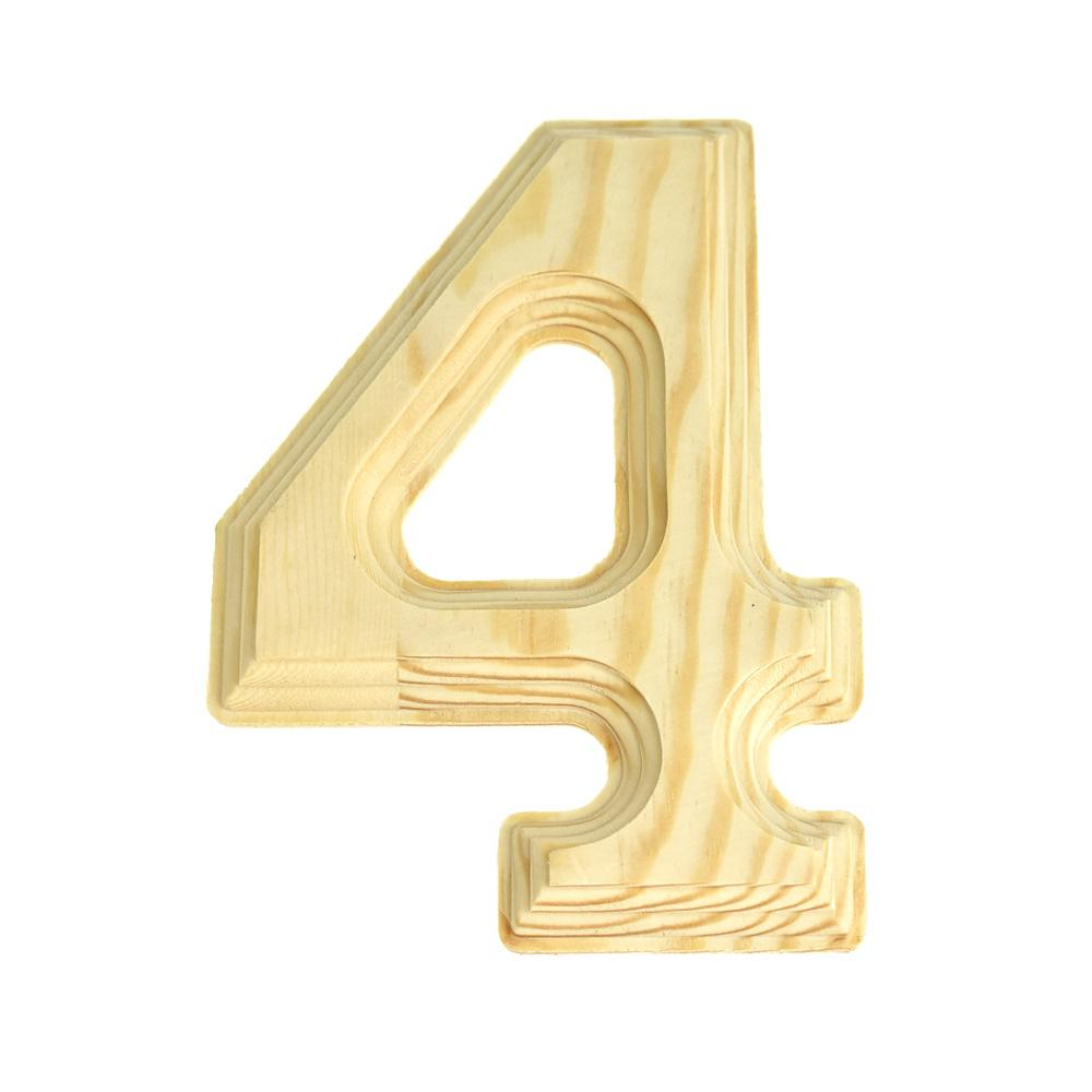 Pine Wood Beveled Wooden Number 4, Natural, 6-Inch