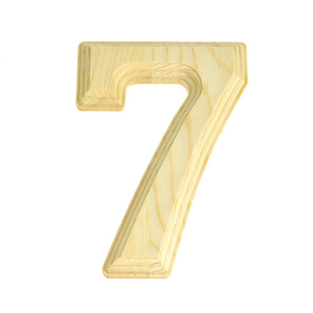 Pine Wood Beveled Wooden Number 7, Natural, 6-Inch