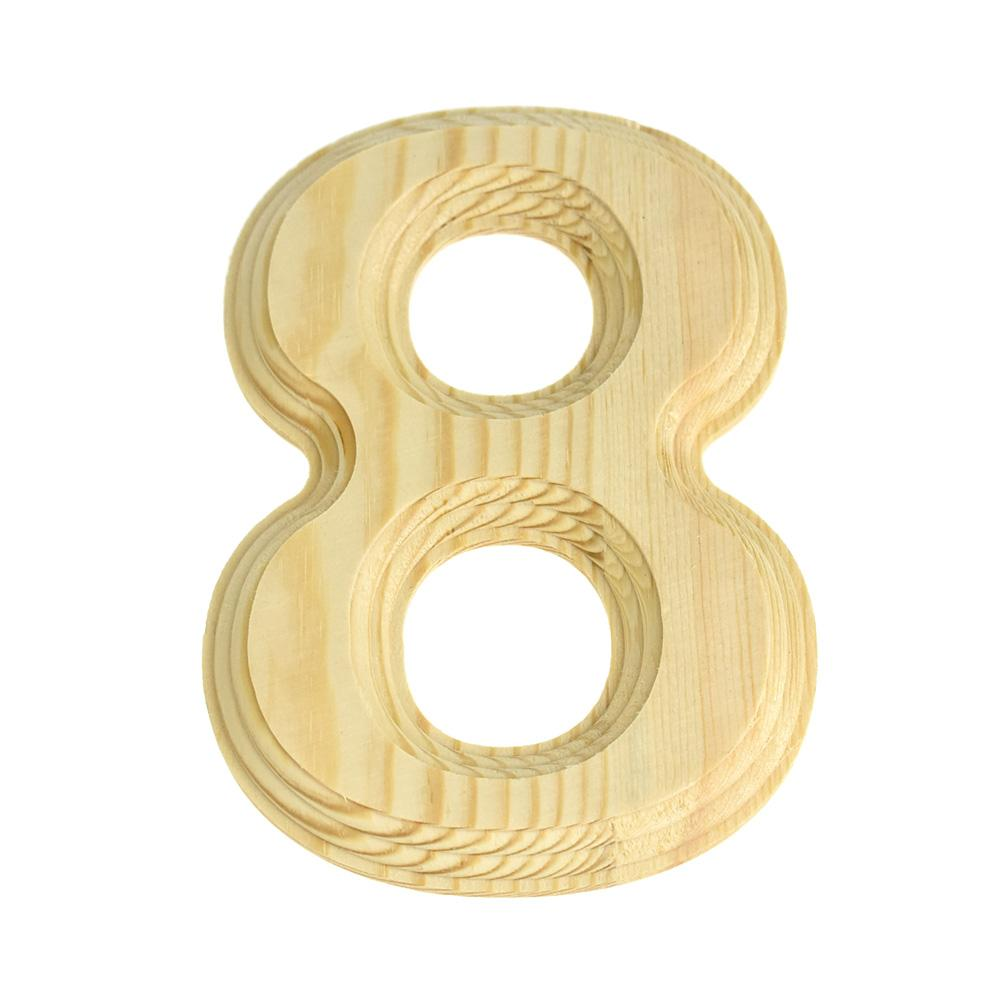 Pine Wood Beveled Wooden Number 8, Natural, 6-Inch