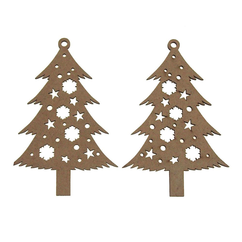 Christmas Tree Laser Cut Christmas Ornaments 4 Inch 2 Piece