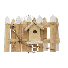 Christmas Snowed Wood Picket Fence Decoration, Natural, 20-Inch x 8-Inch