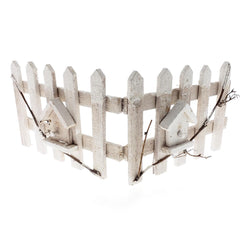 Christmas Snowed Wood Picket Fence Decoration, White, 20-Inch x 8-Inch
