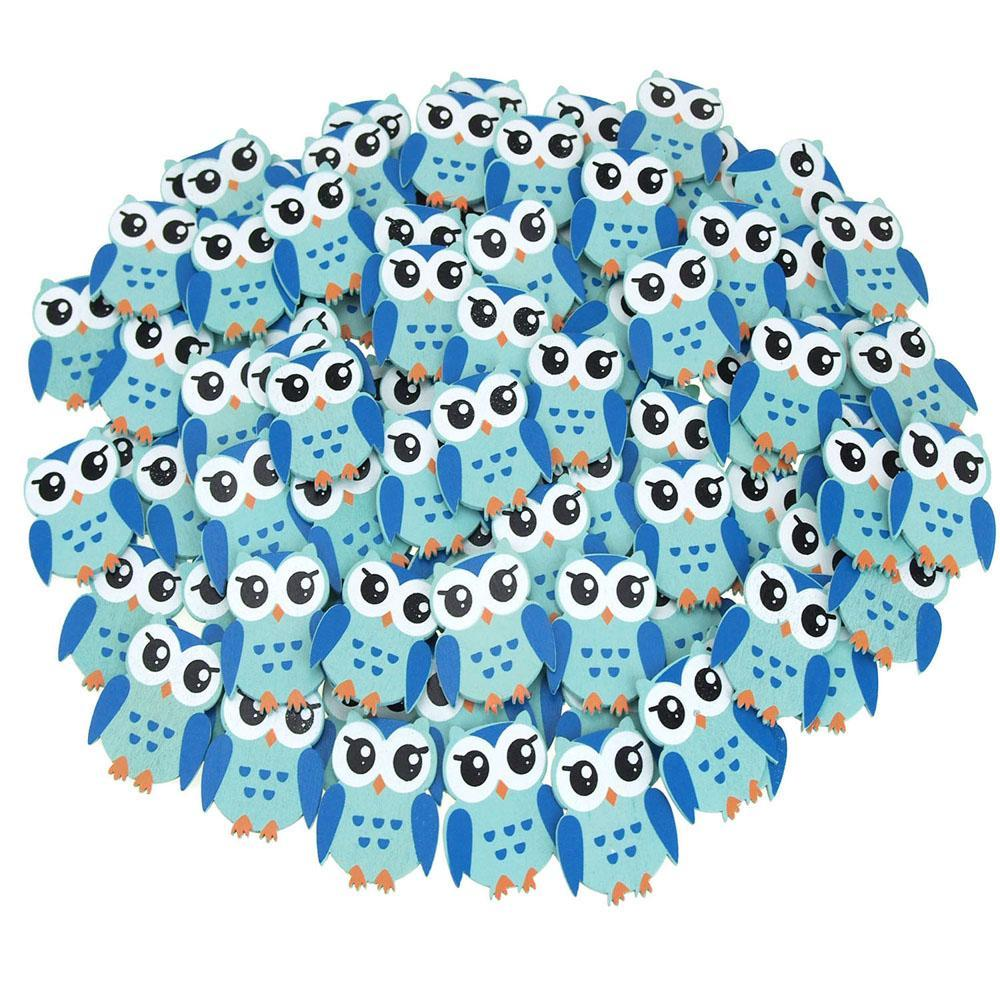 Small Owl Animal Wooden Baby Favors, 1-1/4-Inch, 100-Piece, Blue