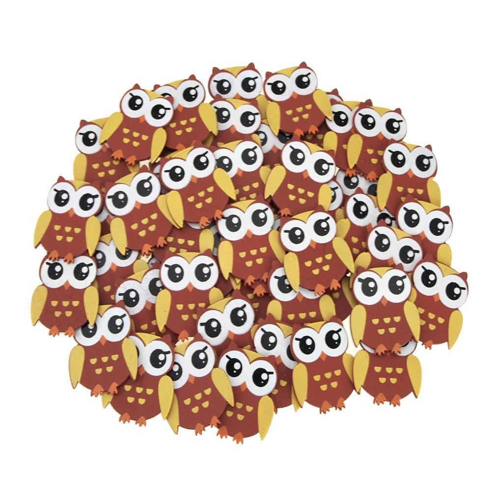 Small Owl Animal Wooden Baby Favors, 1-1/4-Inch, 50-Piece, Brown