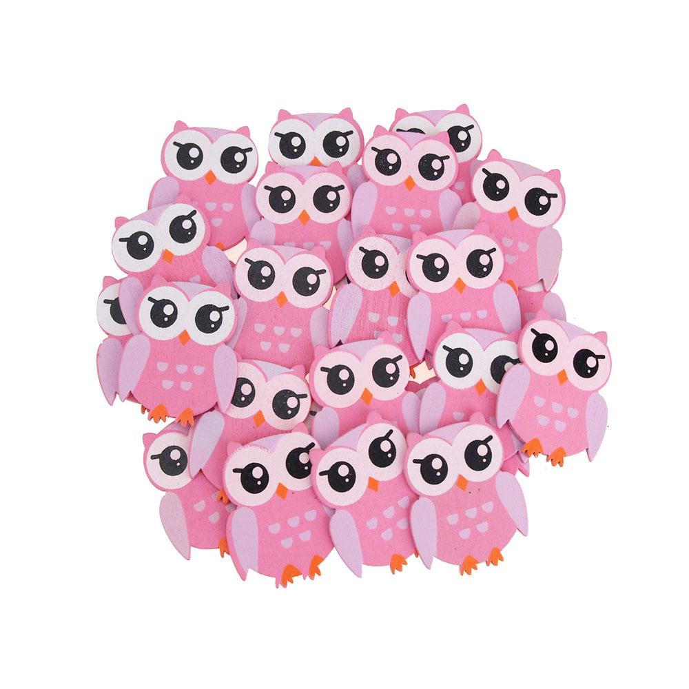 Small Owl Animal Wooden Baby Favors, 1-1/4-Inch, 25-Piece, Pink