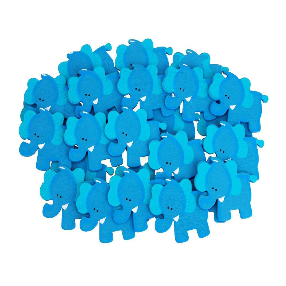 Small Elephant Animal Wooden Baby Favors, 1-1/4-Inch, 25-Piece, Blue