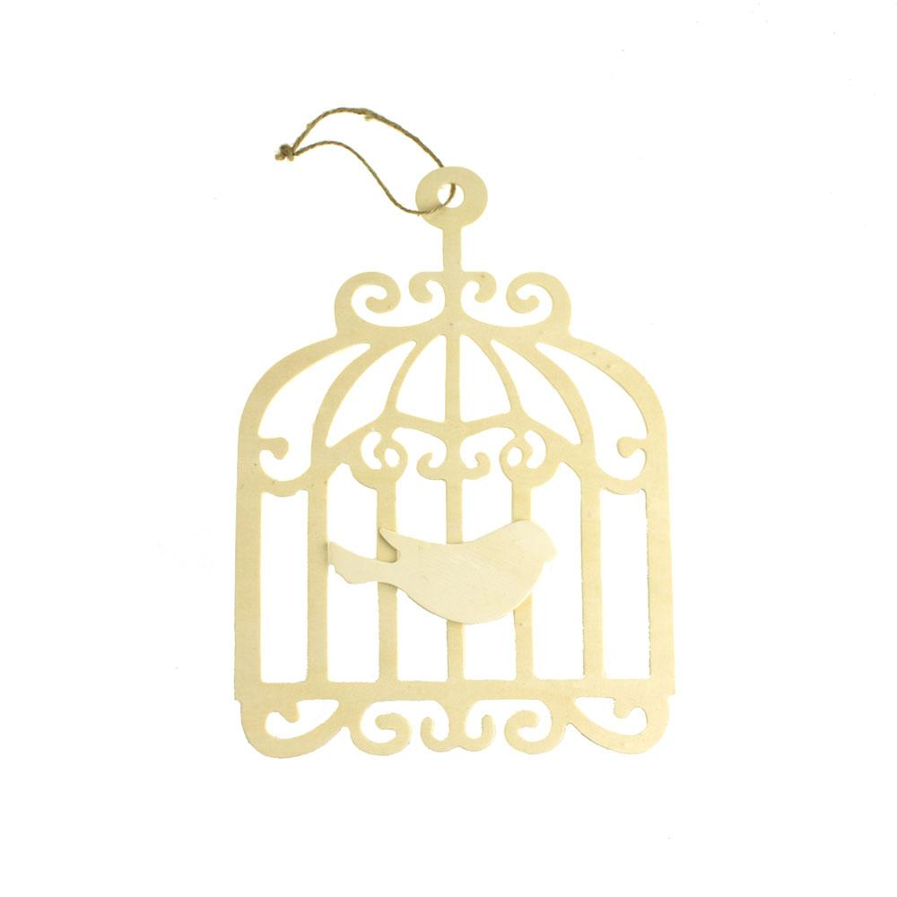 Scroll Swirl Bird Cage Chickadee Wooden Cut Out Plaque, 11-1/4-Inch