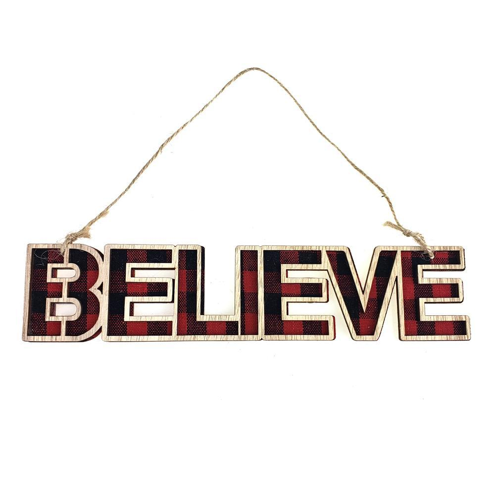 "Wooden Buffalo ""BELIEVE"" Christmas Ornament, 9-Inch"