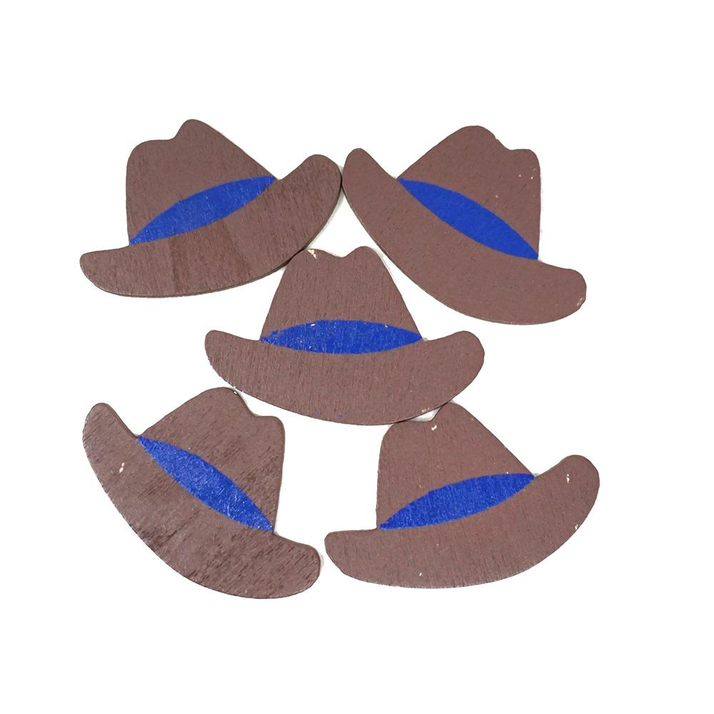 Small Cowboy Hat Wooden Favors, 1-1/2-Inch, 100-Count, Blue