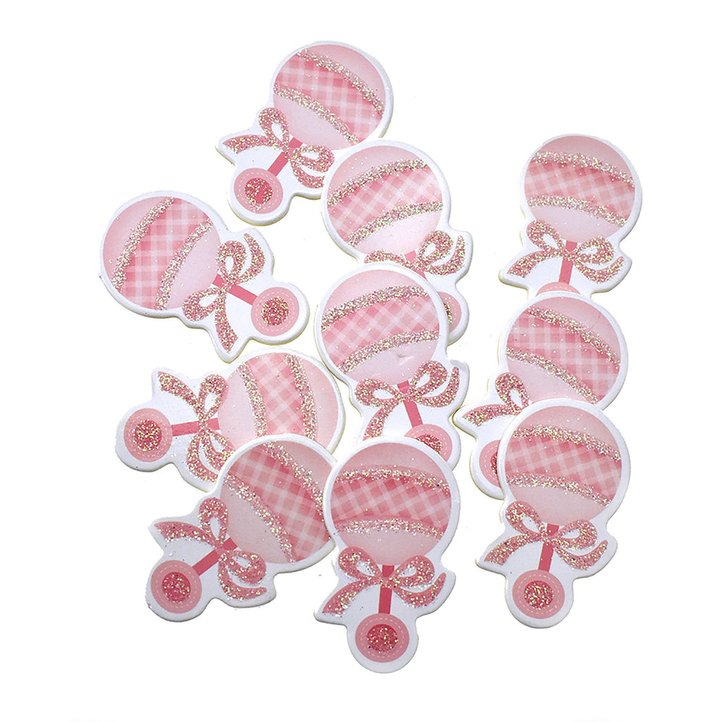 Wooden Rattle Baby Shower Favor Stickers, 1-3/4-Inch, 10-Count, Pink