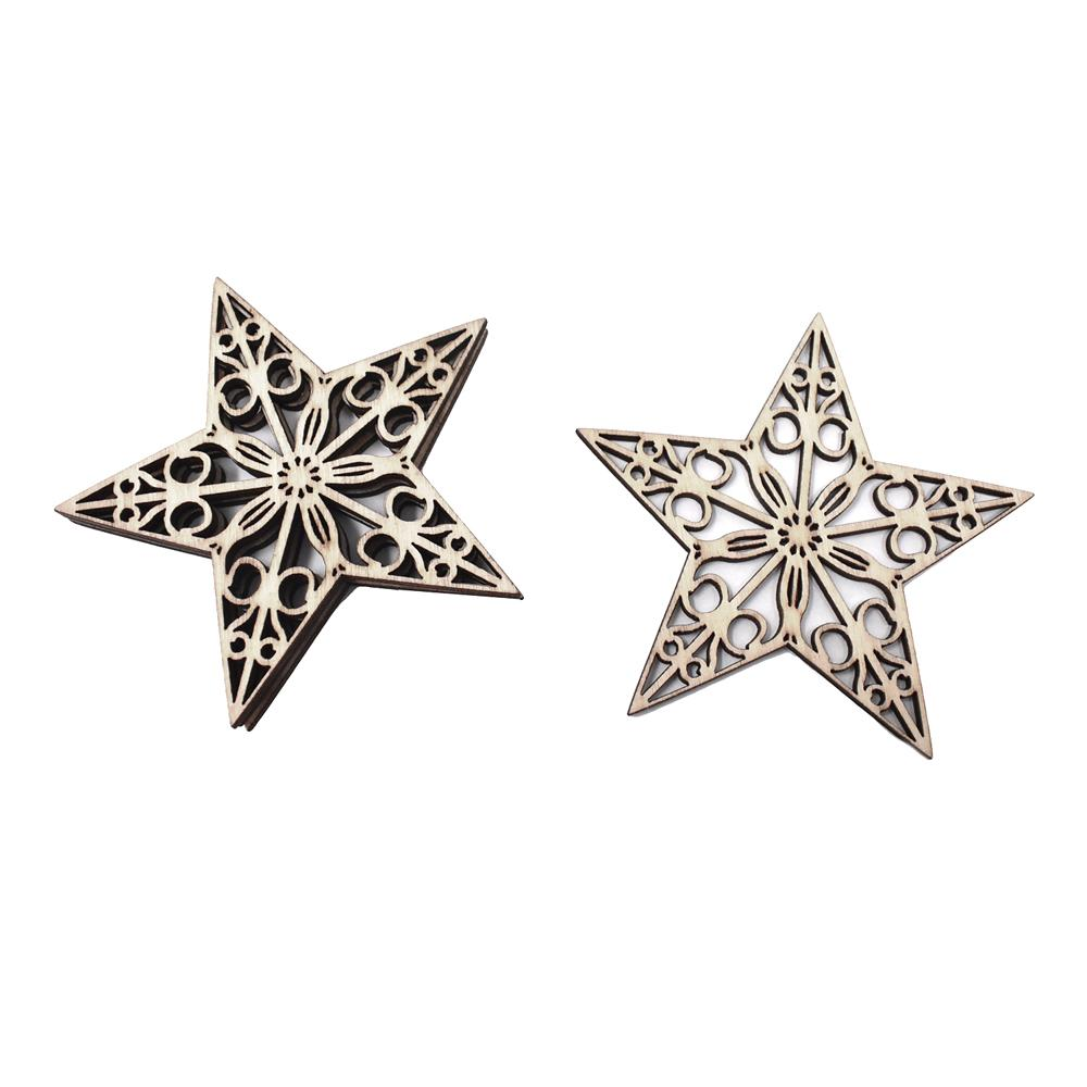 Craft Wood Laser Cut Stars, Natural, 4-Count