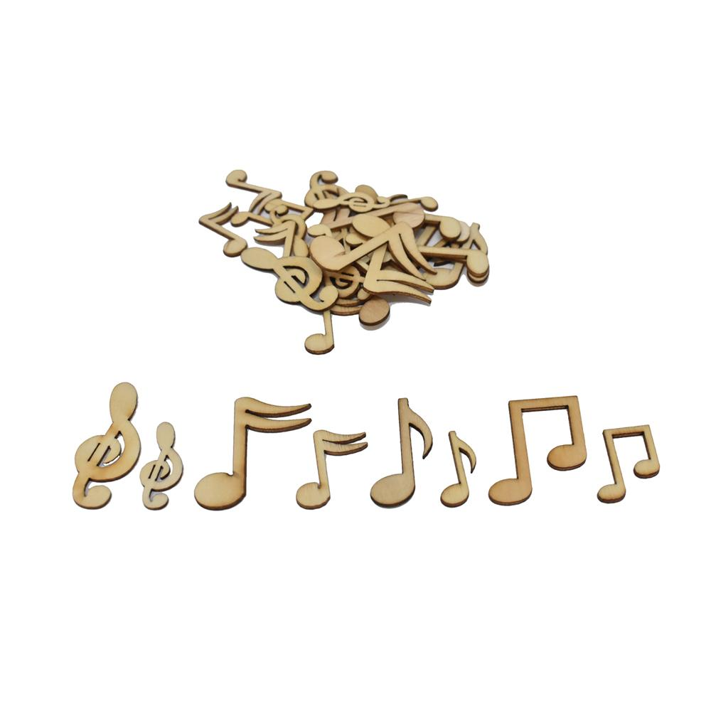 Laser Cut Assorted Wood Music Notes, Natural, 15-Piece