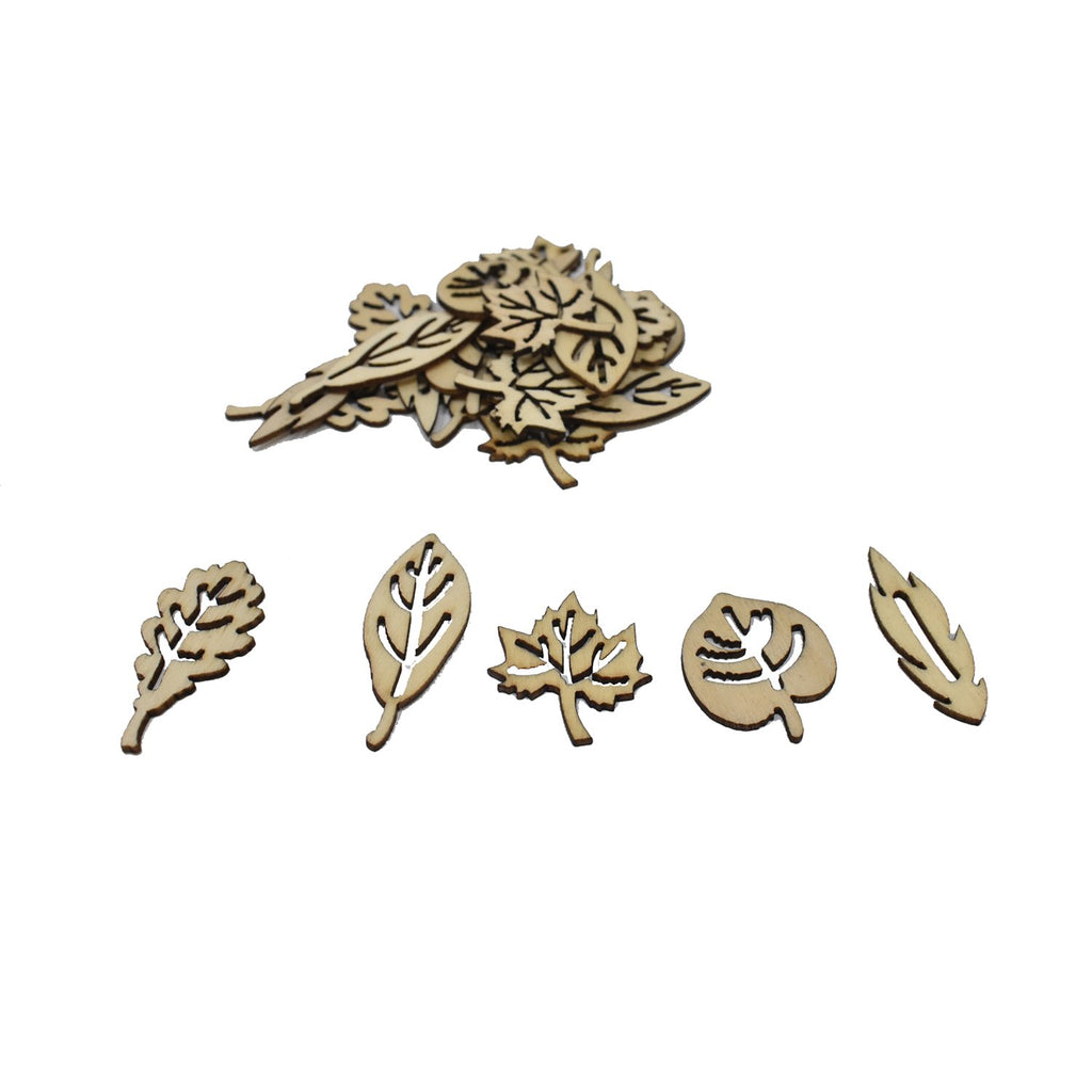 Laser Cut Assorted Wood Leaves, Natural, 15-Piece