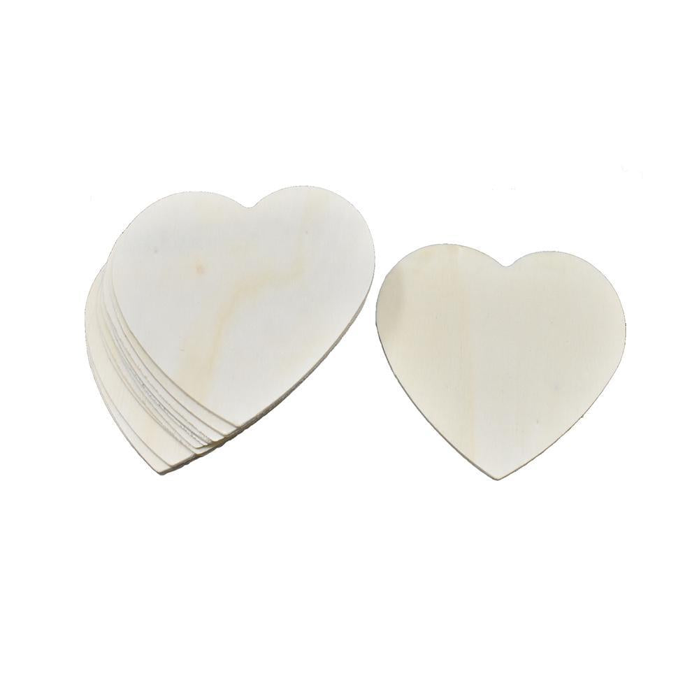 Craft Wood Hearts, Natural, 8cm or 3-1/8-Inch, 12-Count