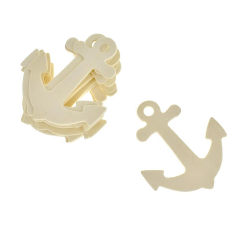 Anchor Shaped Wooden Cut-Outs, Ivory, 3-1/2-Inch, 10-Count