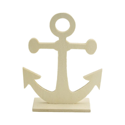DIY Anchor Stand-Up Wood Craft, Natural, 7-1/4-Inch