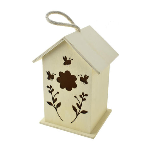 Giant Bees Floral Laser-Cut Birdhouse, Natural, 7-1/2-Inch