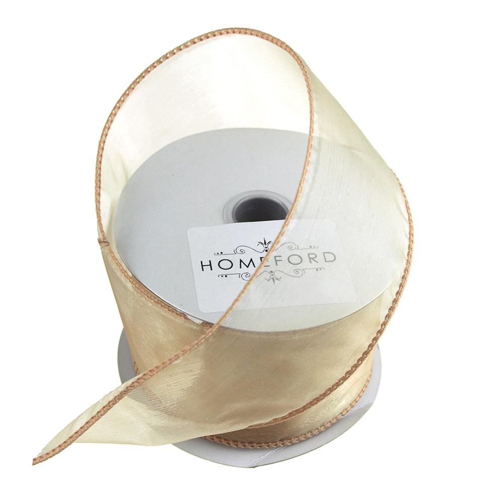 Sheer Organza Wired Edge Ribbon, 2-1/2-Inch, 10 Yards, Toffee