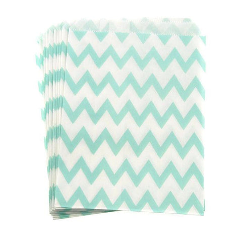 Chevron Paper Treat Bags, 7-Inch, 25-Piece, Aqua