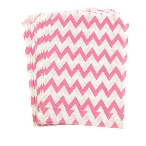 Chevron Paper Treat Bags, 7-Inch, 25-Piece, Hot Pink