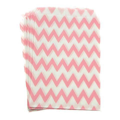 Chevron Paper Treat Bags, 7-Inch, 25-Piece, Light Pink