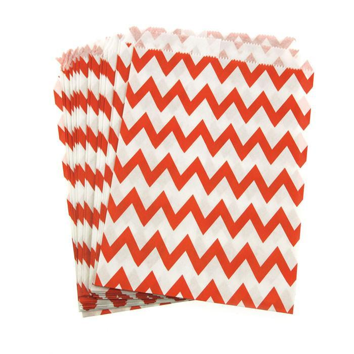 Chevron Paper Treat Bags, 7-Inch, 25-Piece, Red