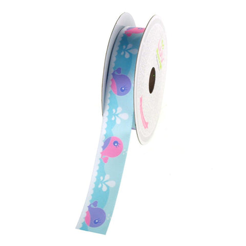 Baby Whales Satin Ribbon, 7/8-Inch, 10 Yards