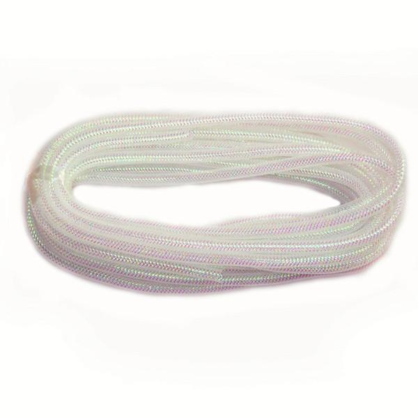 Solid Mesh Tubing Deco Flex Ribbon, 8mm, 10 Yards, Iridescent White