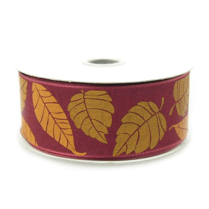 Leaves Poly Ribbon Wired Edge, 1-1/2-inch, 10-yard, Wine