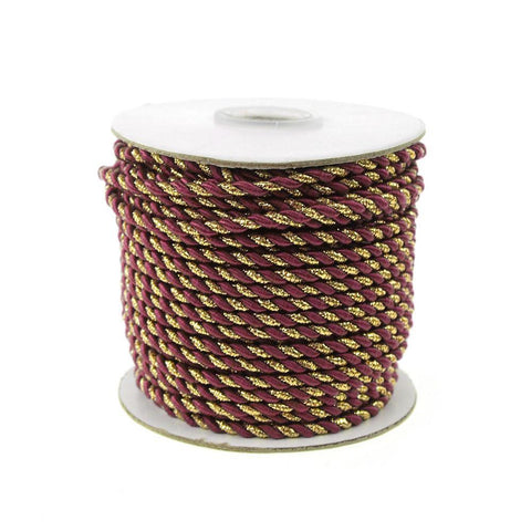 Gold Trim Twisted Cord Rope 2 Ply, 3mm, 25 Yards, Wine
