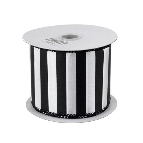 Black and White Striped Polyester Ribbon, 2-1/2-Inch, 10 Yards - Great Use for Spooky Halloween