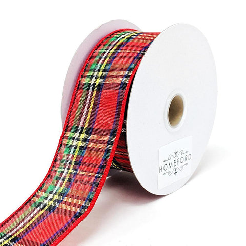 Christmas Tartain Plaid Wired Ribbon, 1-1/2-Inch, 10-Yard