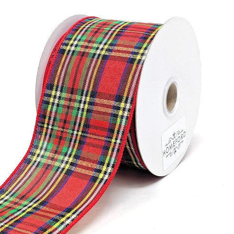 Christmas Tartain Plaid Wired Ribbon, 2-1/2-Inch, 10-Yard