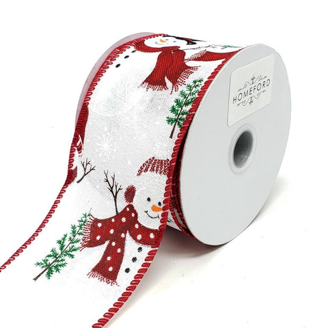 Christmas Frosted Snowmen Linen Ribbon, 2-1/2-Inch, 10-Yard, White
