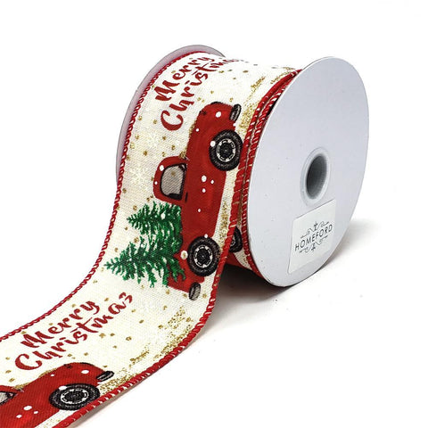 """Merry Christmas"" Red Truck Linen Ribbon, 2-1/2-Inch, 10-Yard, Ivory"