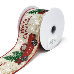 """Merry Christmas"" Red Truck Linen Ribbon, 2-1/2-Inch, 10-Yard"