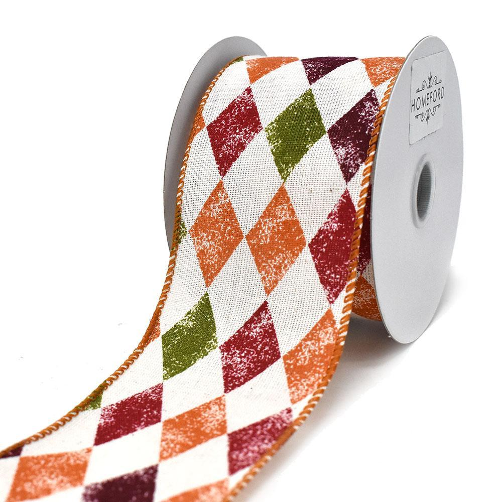 Ivory Linen Stamped Fall Harlequin Wired Ribbon, 2-1/2-Inch, 10-Yard