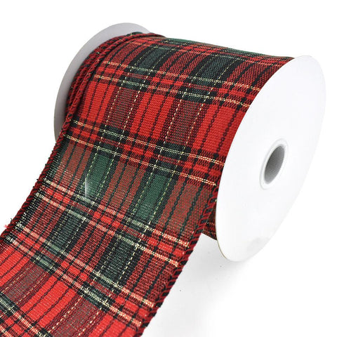 Biltmore Christmas Plaid Wired Ribbon, 4-Inch, 10-Yard
