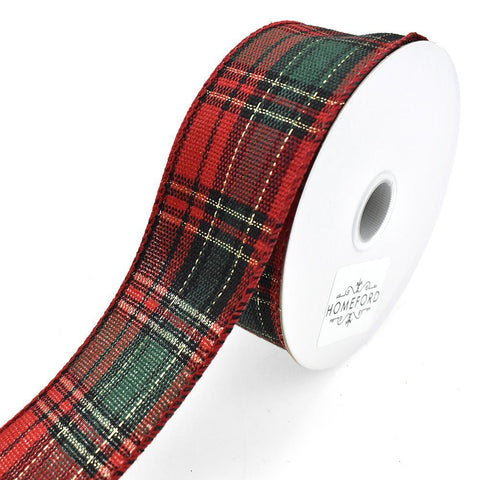 Biltmore Christmas Plaid Wired Ribbon, 1-1/2-Inch, 10-Yard