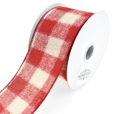 Brushed Buffalo Plaid Wired Edge Christmas Ribbon, 2-1/2-Inch, 10-Yard, Red/Tan