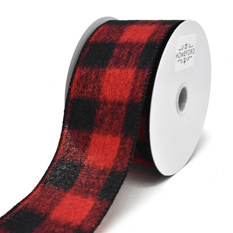 Brushed Buffalo Plaid Wired Edge Christmas Ribbon, 2-1/2-Inch, 10-Yard, Black/Red