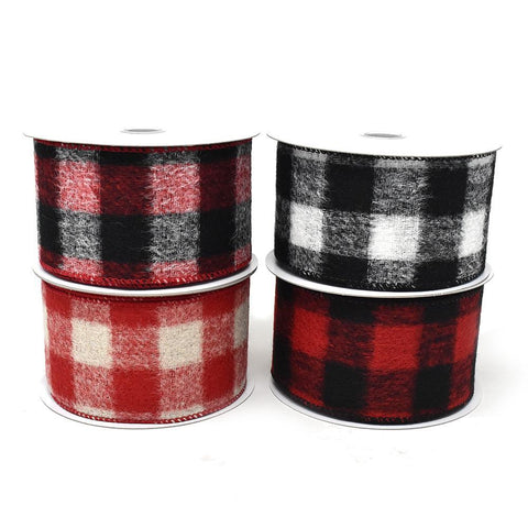 Brushed Buffalo Plaid Wired Edge Christmas Ribbon, 2-1/2-Inch, 10-Yard