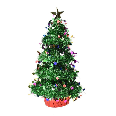 3D Tinsel Christmas Tabletop Tree, Green, 16-1/2-Inch