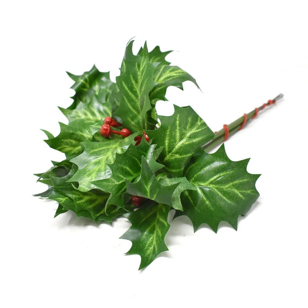 Artificial Holly Berry, Green, 9-Inch, 4-Piece