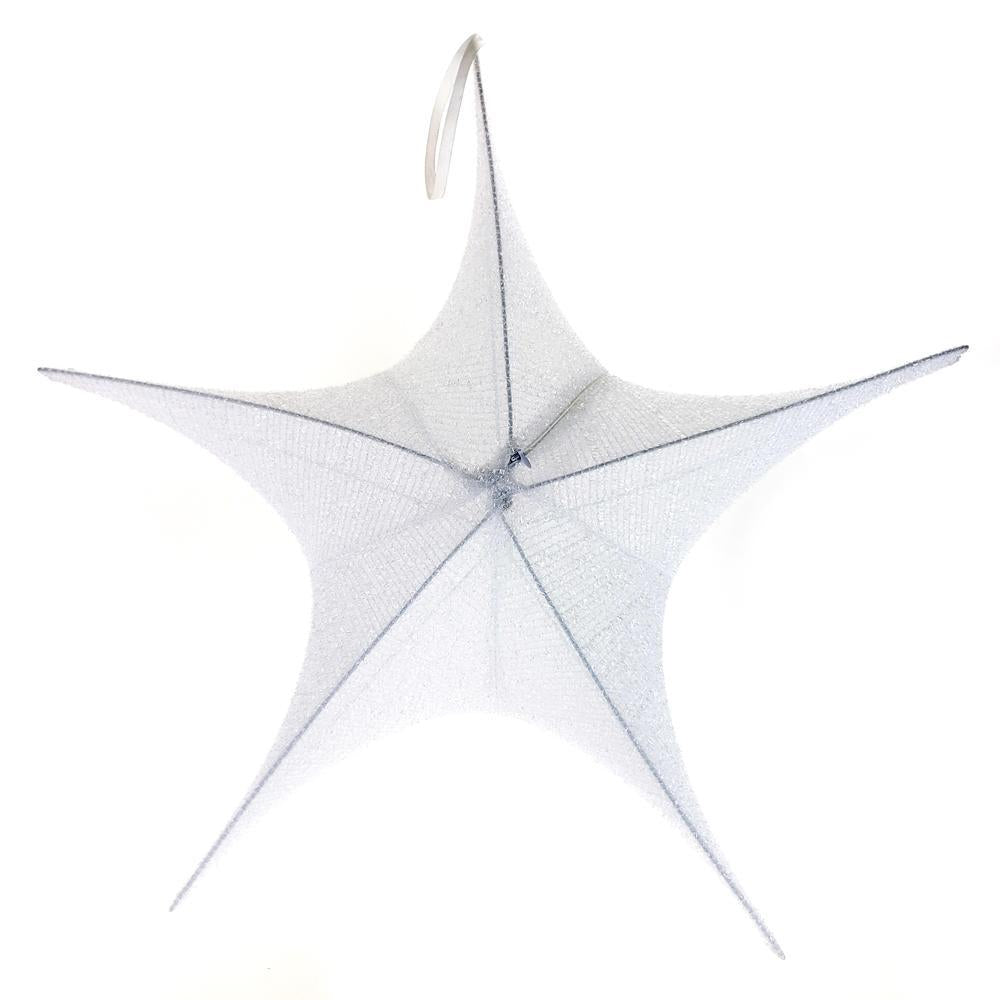 Folding Star Christmas Hanging Ornament, White, 31-1/2-Inch