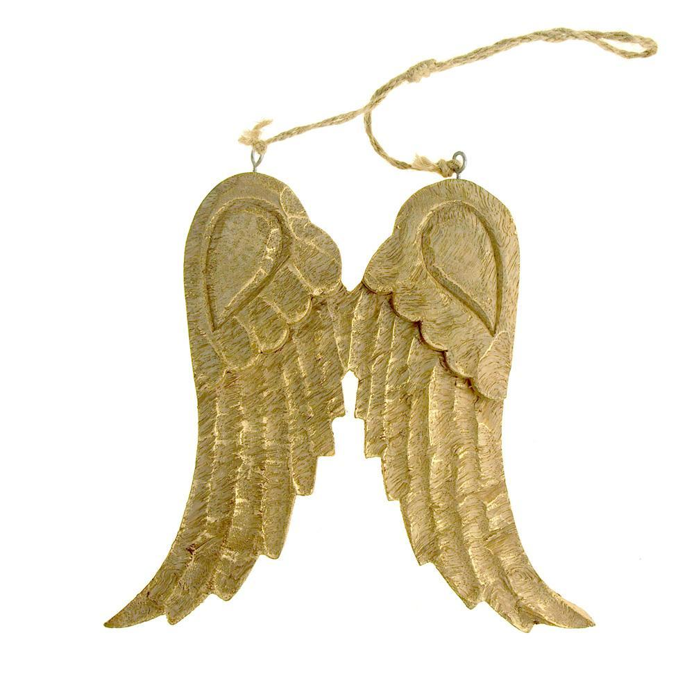Large Hanging Wooden Angel Wings Christmas Tree Ornament, Gold, 8 ...