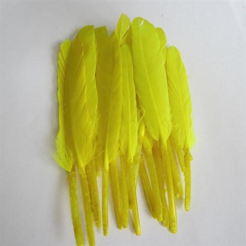 Duck Feather Decorative, 6-inch, 50-Piece, Yellow