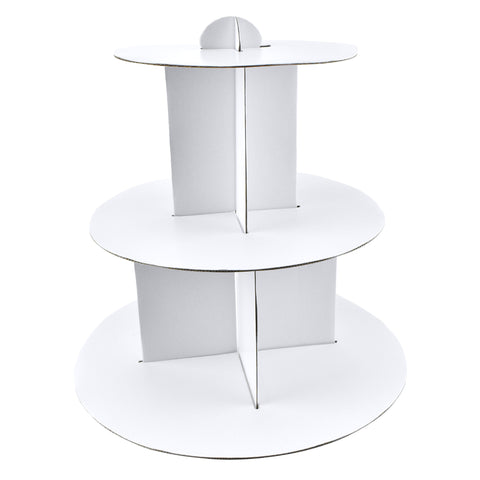 Cardboard Cupcake Holder Stand, White, 3 Tier, 12-1/4-inch