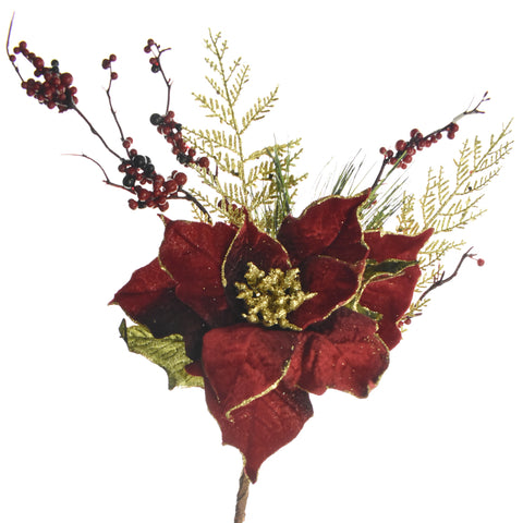 Artificial Velvet Poinsettia, Berries, and Pine Pick, 17-Inch