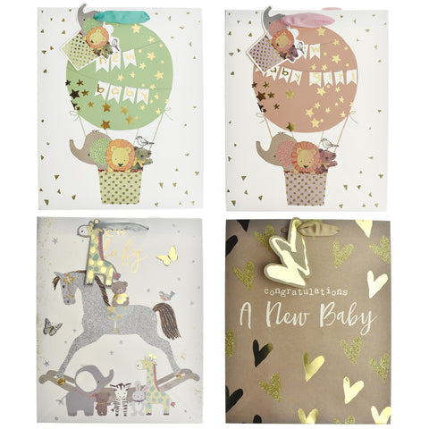 Baby Shower Flying Animals Gift Bags, 12-3/4-Inch, 4-Piece